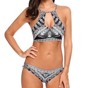 Lace Up Ethnic Floral Printed Two Piece Bikini